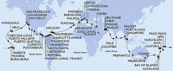Világkörüli hajó út útvonal